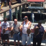 Fish caught on Ocean City fishing boat displayed on dock